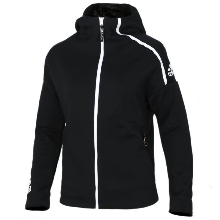 Adidas阿迪达斯女装上衣 2019春季 运动服保暖休闲防风连帽夹克针织外套EA2103