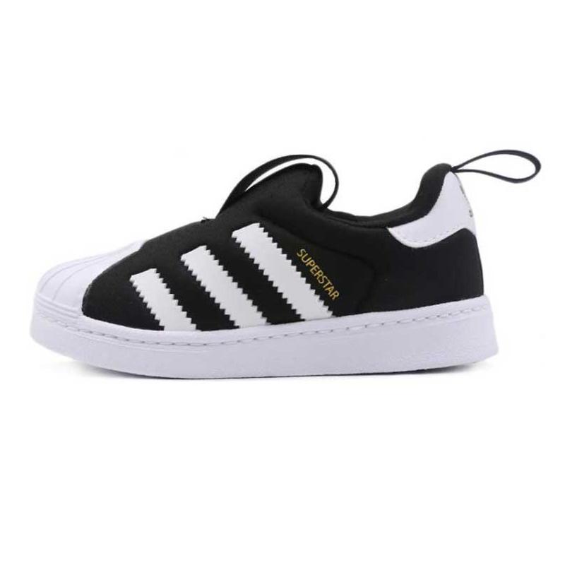 阿迪达斯三叶草 Adidas   儿童 休闲魔术贴黑白贝壳头板鞋休闲鞋 S82711