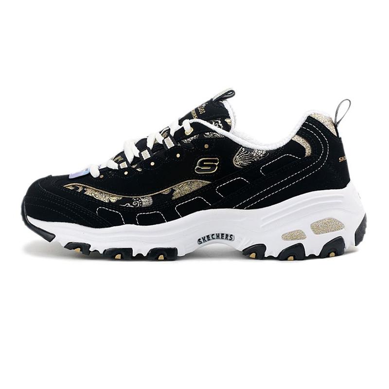 斯凯奇SKECHERS D'LITES系列 女鞋  运动熊猫休闲板鞋 13091-BKGD