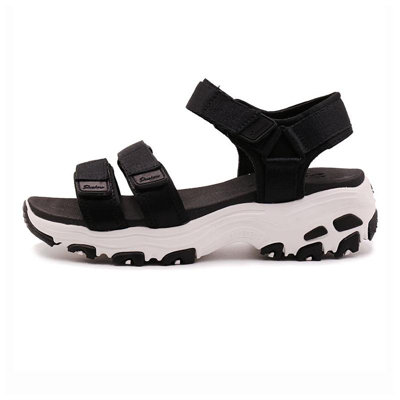 斯凯奇Skechers 女子熊猫鞋Dlites厚底凉鞋防水魔术贴休闲鞋31514-BLK  31514-RED  31514-GRY