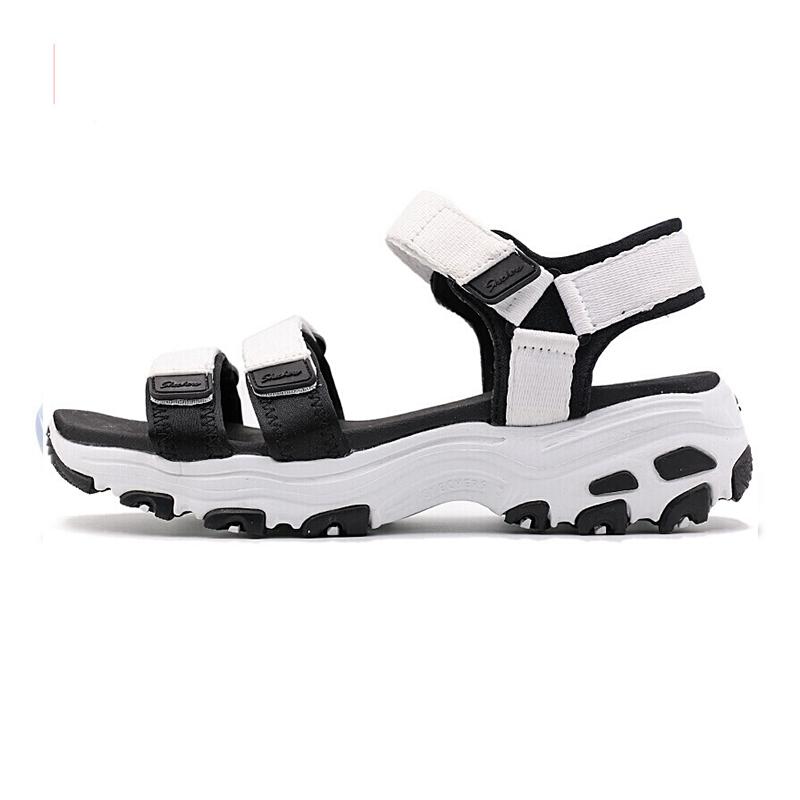 斯凯奇Skechers女子 熊猫鞋Dlites厚底凉鞋防水魔术贴休闲鞋31514-WBK