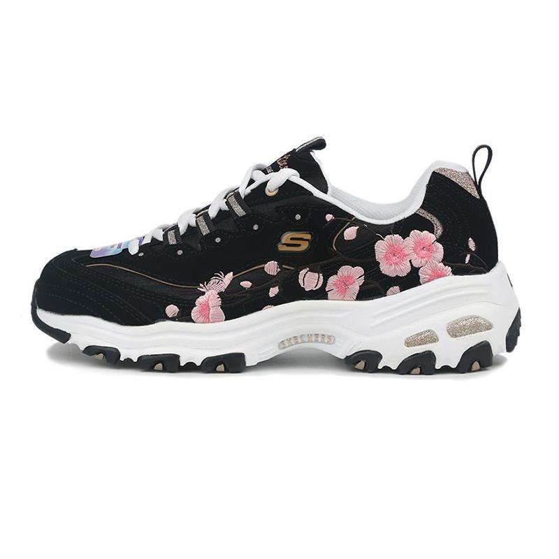 斯凯奇SKECHERS D'LITES 1.0 女鞋 厚底老爹鞋时尚花卉刺绣运动休闲鞋 149239-BKPK