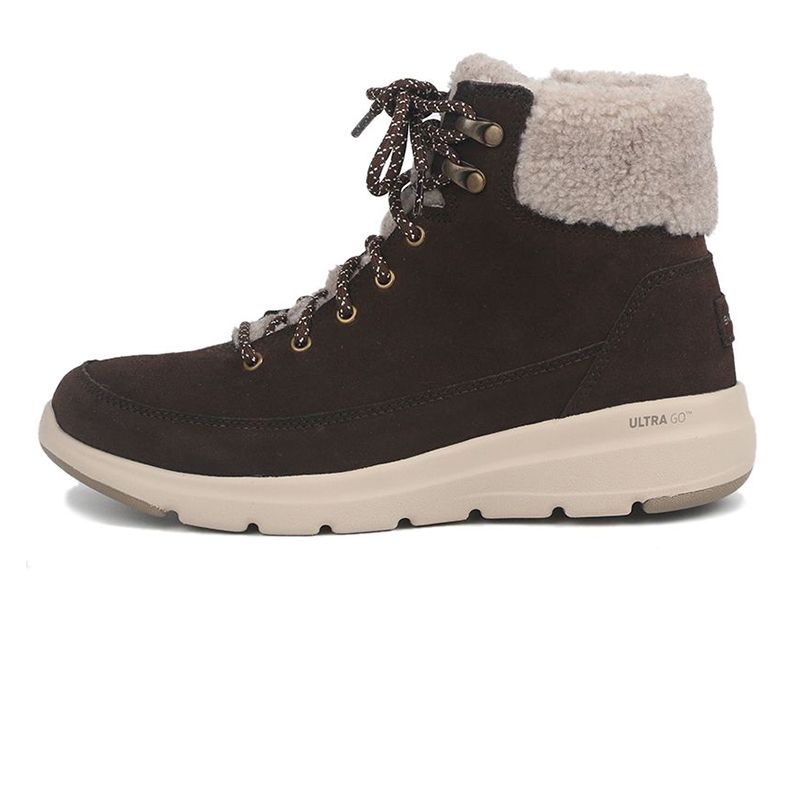 斯凯奇SKECHERS GLACIAL ULTRA 女士 反毛皮雪地靴羊羔绒拼接休闲靴 16677-CHOC