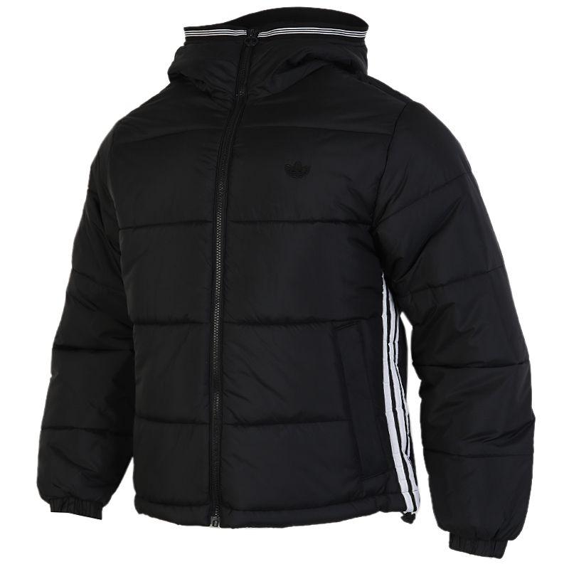 阿迪达斯三叶草ADIDAS PAD HOODED PUFF 男装 经典加厚外套保暖运动棉服 GE1291