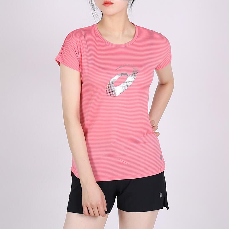 亚瑟士女装夏 运动跑步休闲条纹大logo短袖T恤2012A136-700