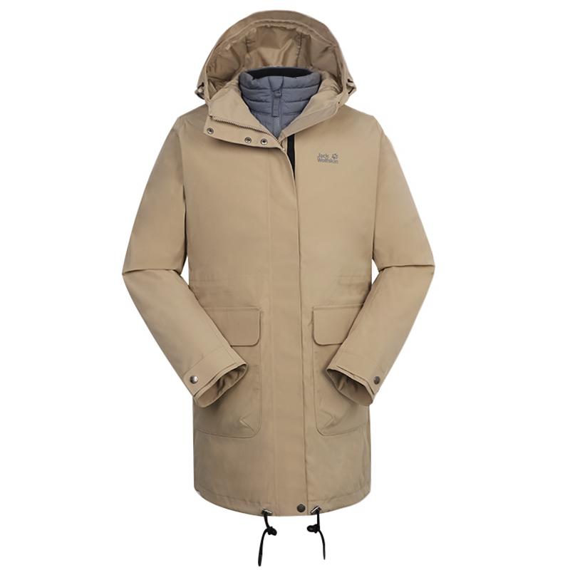 狼爪Jack wolfskin 女装 户外运动保暖防风外套冲锋衣三合一 5120141-5605