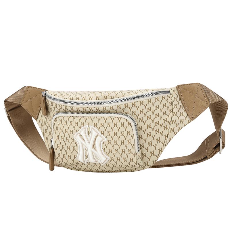 MLB 男女 胸包复古老花系列腰包泫雅同款纽约洋基NYLA单肩斜挎包休闲潮 32BGC9-50B