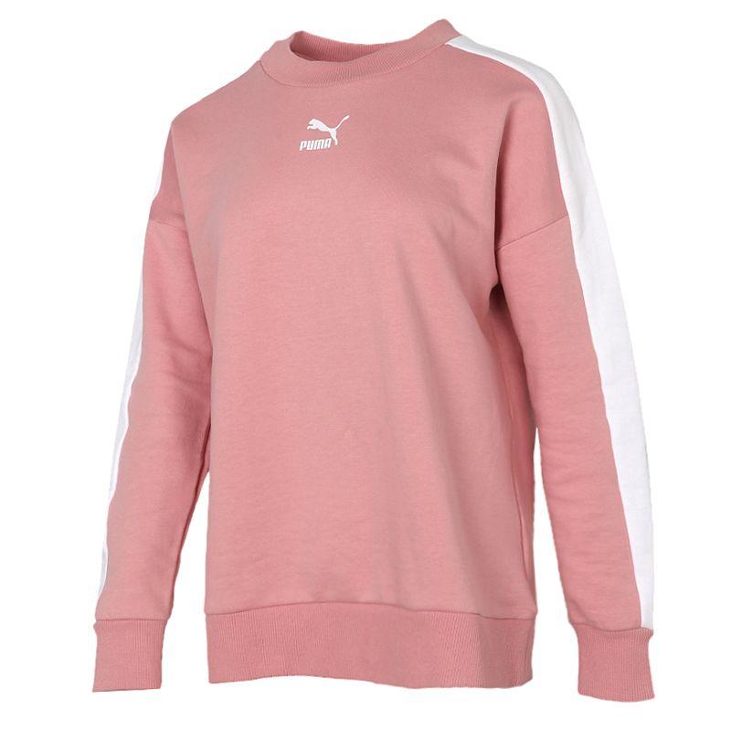 彪马PUMA 女装 2020冬季新款运动T7粉色休闲套头衫卫衣 595932-14