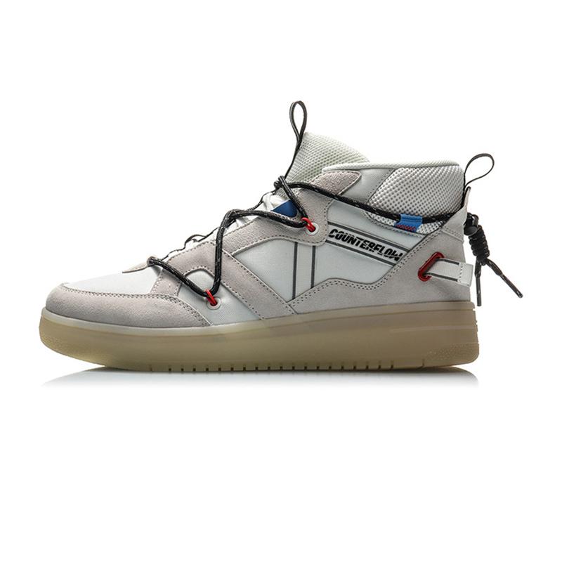 李宁男鞋2021新款Hunter时尚运动鞋防滑中帮休闲鞋AGCQ127-1