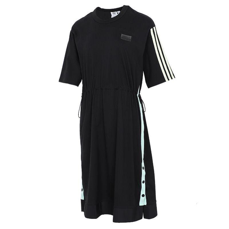 阿迪达斯三叶草ADIDAS 女子 2021夏季新款运动休闲透气时尚短袖长款T恤 H39023