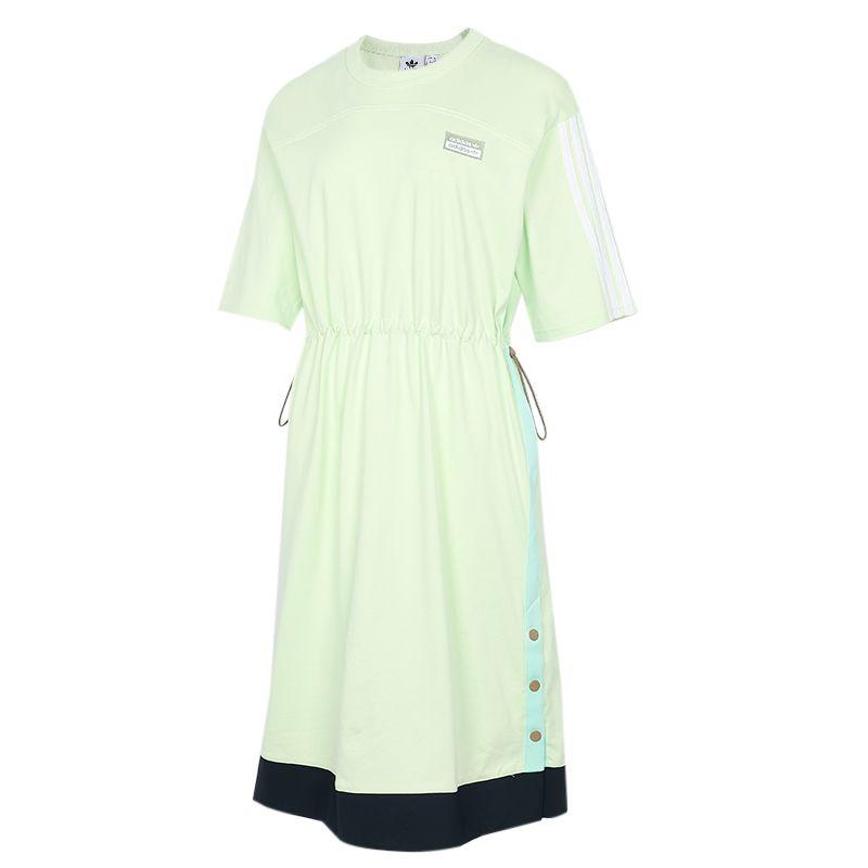 阿迪达斯三叶草ADIDAS 女子 2021夏季新款运动休闲透气时尚短袖长款T恤 H39024