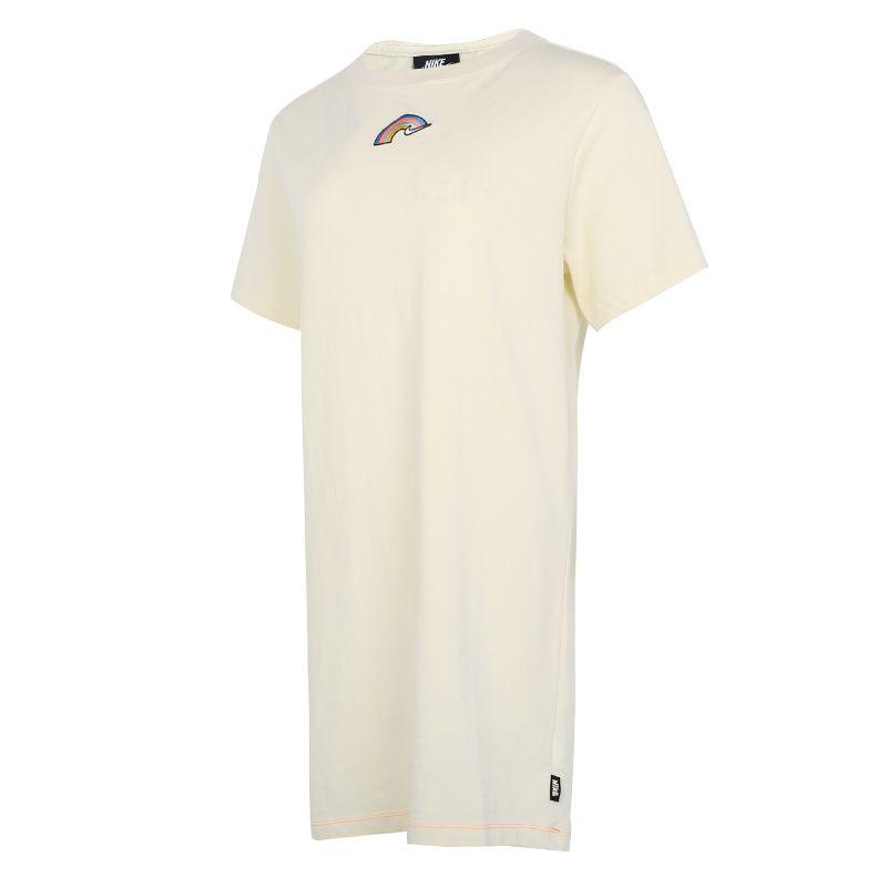 耐克NIKE 女子 2021夏季新款运动服休闲透气快干时尚短袖长款T恤裙子 DJ6202-111