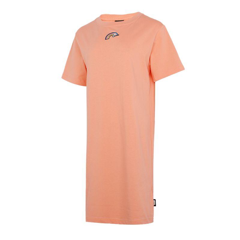 耐克NIKE 女子 2021夏季新款运动服休闲透气快干时尚短袖长款T恤裙子 DJ6202-641
