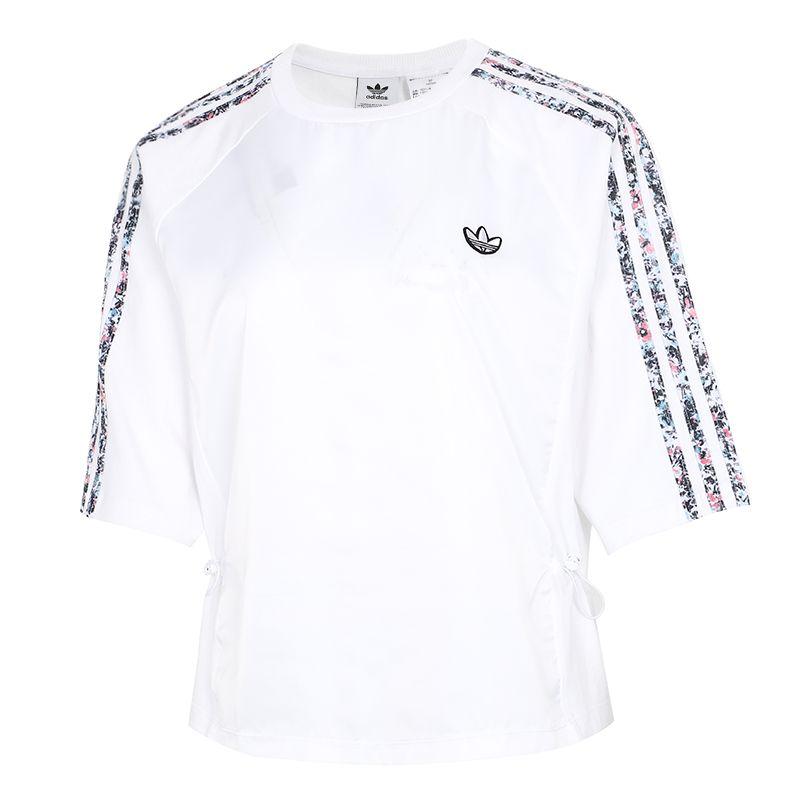 阿迪达斯三叶草ADIDAS 女子  2021夏季新款跑步训练健身运动半袖休闲透气圆领体恤棉质T恤 GN3119
