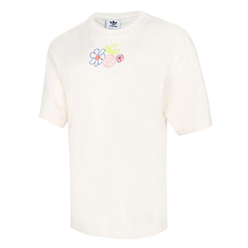 阿迪达斯三叶草ADIDAS 女子 2021新款运动服时尚logo潮流休闲舒适跑步训练圆领短袖T恤 GP3497