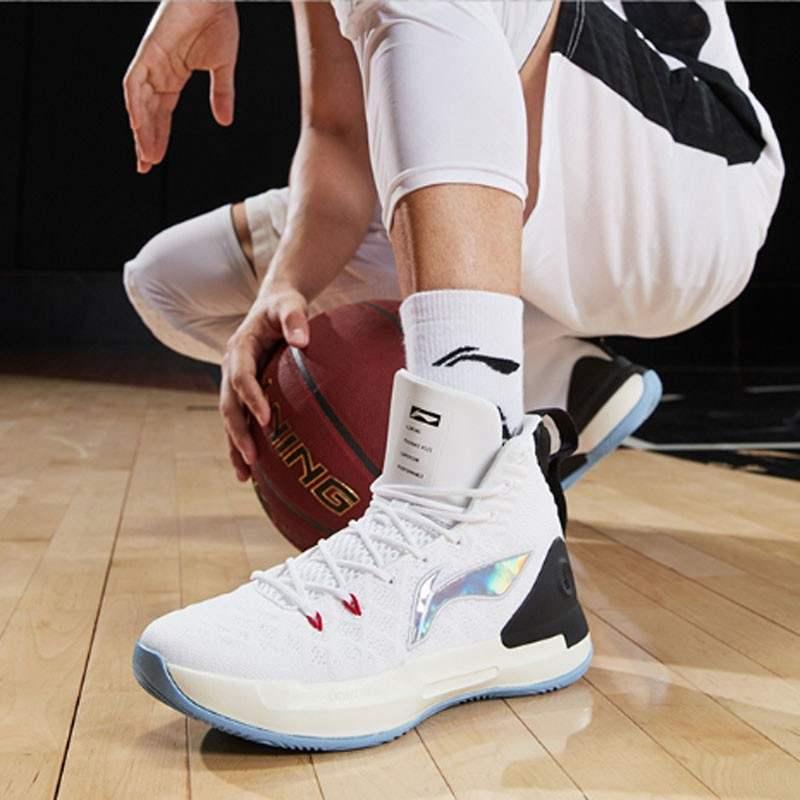 李宁LI-NING 男鞋 驭帅13代高帮减震稳固支撑耐磨篮球鞋 ABAP075-1