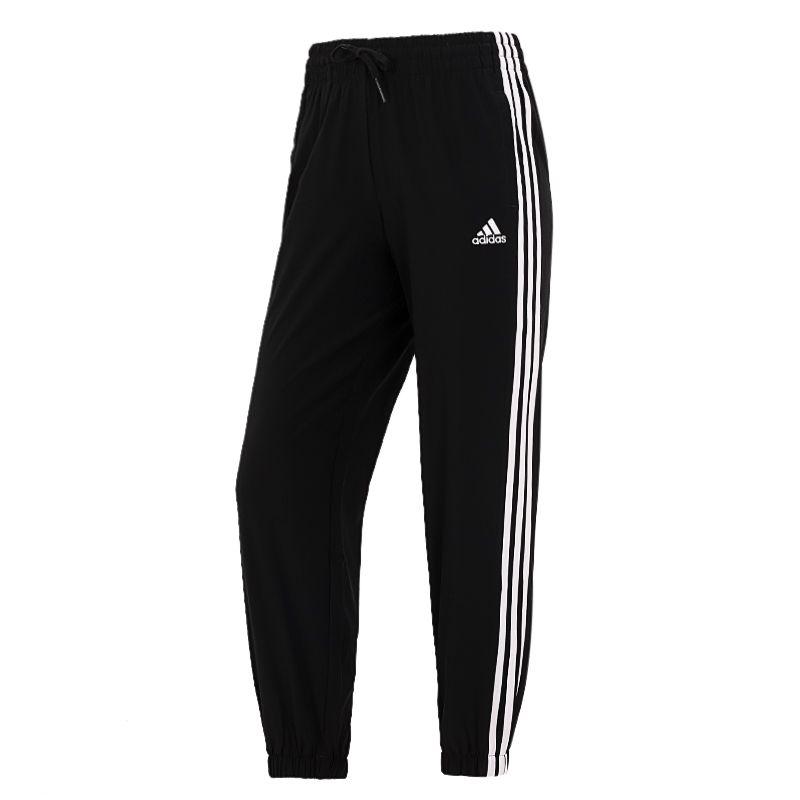 阿迪达斯ADIDAS 女子 2021新款运动裤时尚舒适轻薄透气三条纹收口运休闲长裤 GR9605