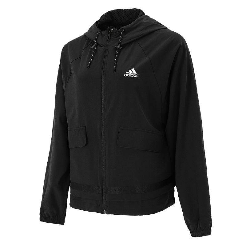 阿迪达斯ADIDAS 女子 2021新款运动服跑步训练健身透气舒适防风快干休闲外套梭织夹克 H07383