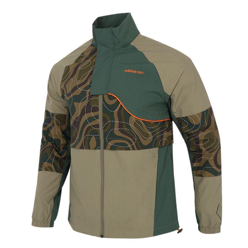 阿迪达斯生活Adidas NEO 男子 2021新款运动户外出行时尚印花透气休闲立领夹克外套 HE7944