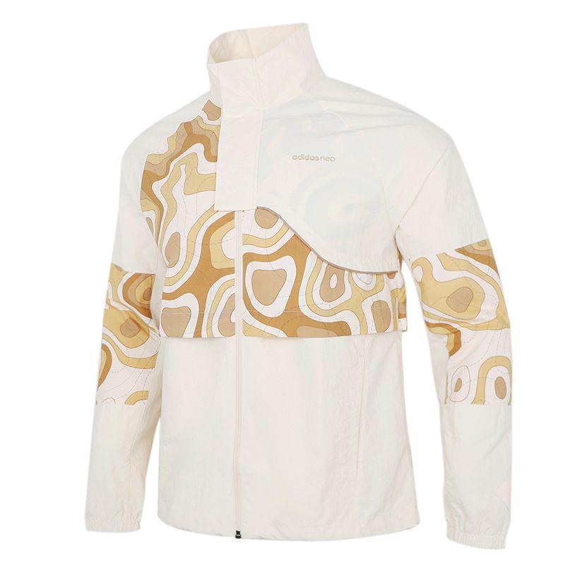 阿迪达斯生活Adidas NEO 男子 2021新款运动户外出行时尚印花透气休闲立领夹克外套 HE7945