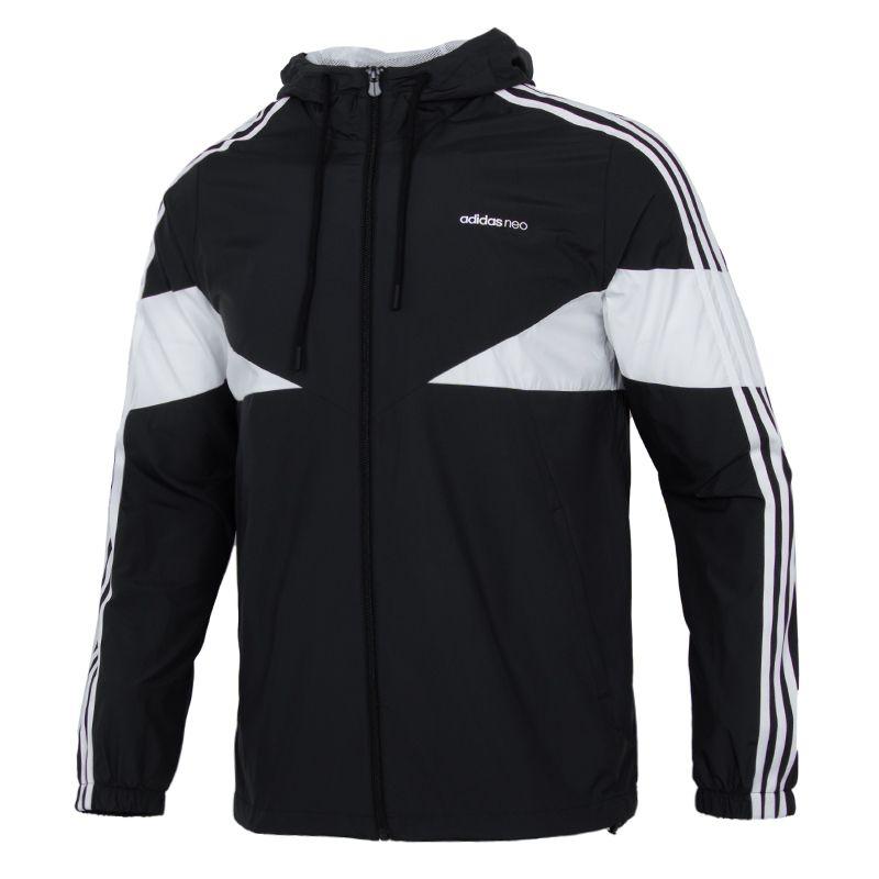 阿迪达斯生活Adidas NEO 男子 2021新款舒适透气休闲运动撞色拼接梭织连帽夹克外套  H14228