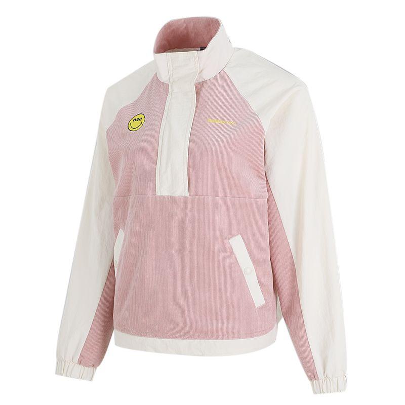 阿迪达斯生活Adidas NEO 女装 2021新款户外时尚笑脸半拉链立领防风运动梭织夹克 H58043
