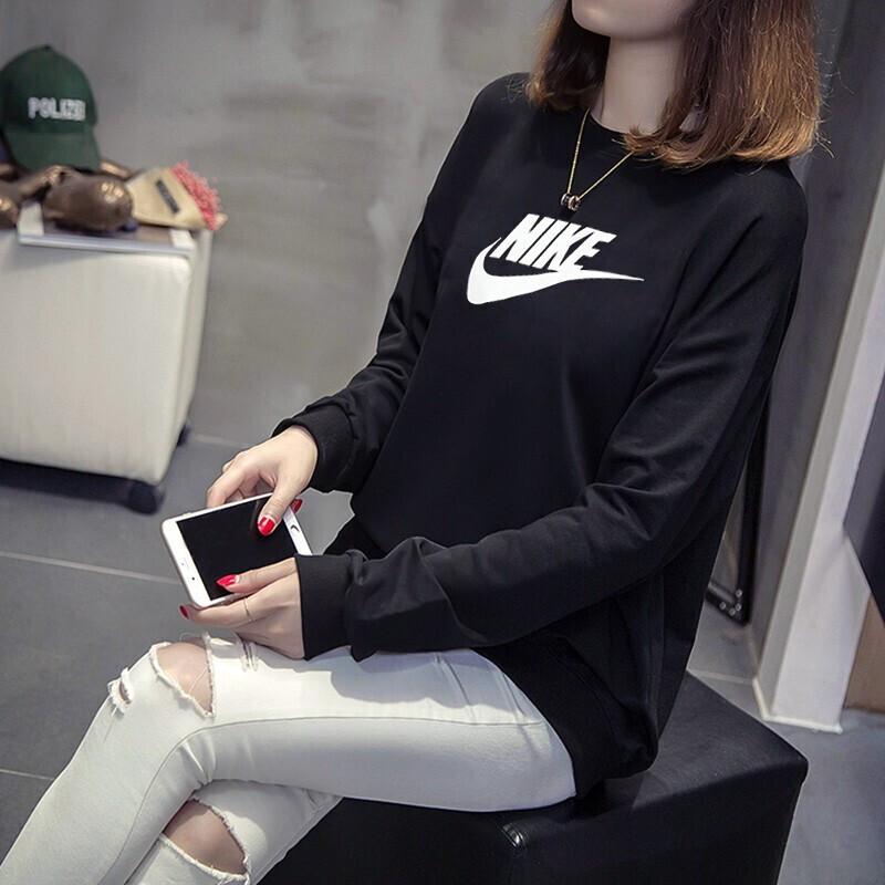 耐克 NIKE 女子 舒适透气时尚潮流防寒保暖大LOGO运动休闲卫衣套头衫  BV4113-010